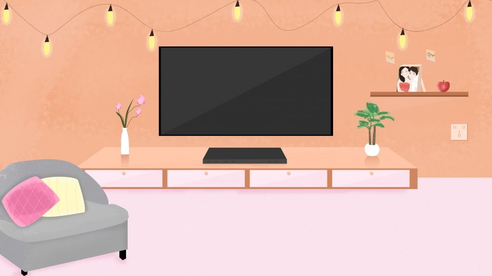 Mixed Color Cartoon Living Room Background Material Illustration