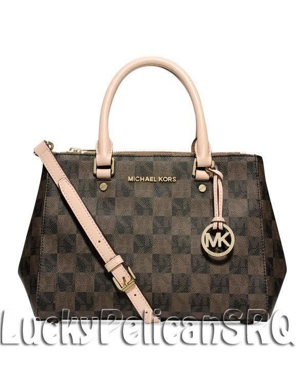 9ab9974aa8ca Michael Kors Sutton MK Signature Checkerboard Small Satchel Bag Brown Black  NWT  MichaelKors  Satchel