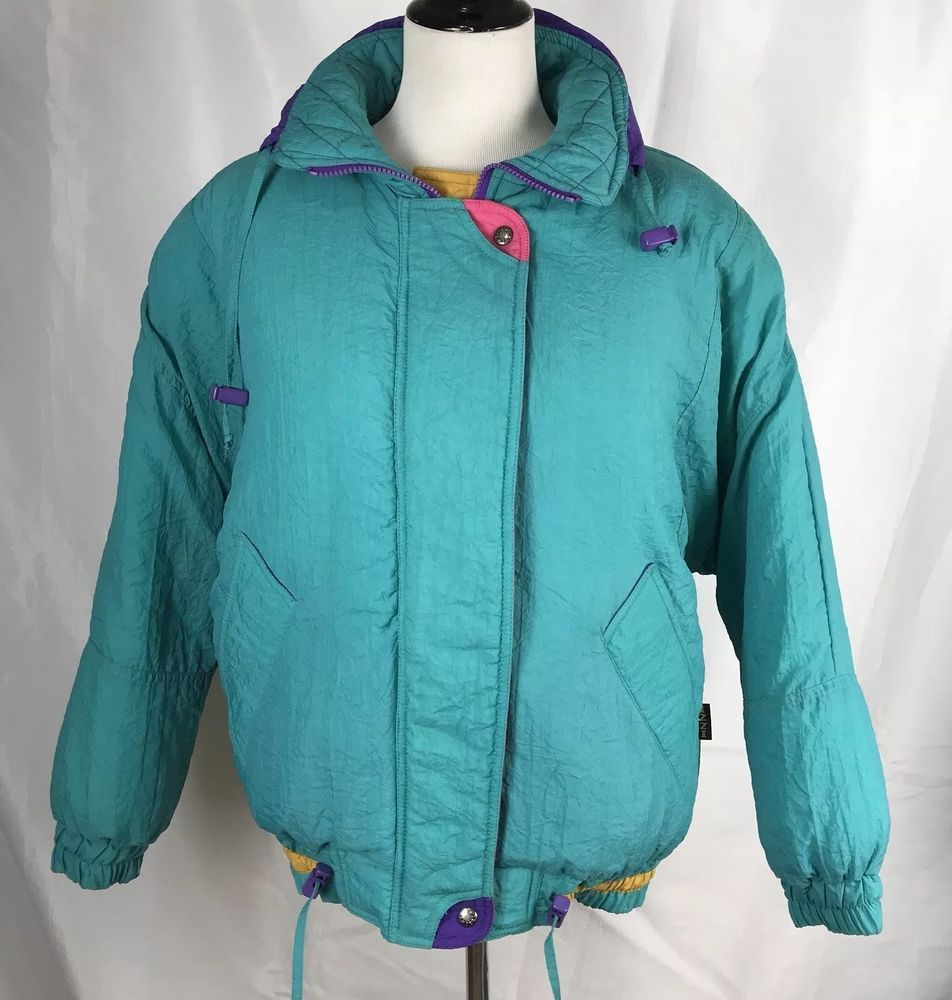 66c0c6f61b Vtg 90s IZZI Puffy Ski Snow Jacket Womens Medium M Blue Green With Pink  Bright  fashion  clothing  shoes  accessories  vintage   womensvintageclothing (ebay ...