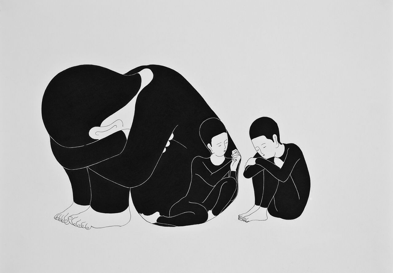 Moonassi. Be with and without me 나와 함께 없어줘, 29.7 × 42 cm, Pigment liner and marker on a paper, 2009