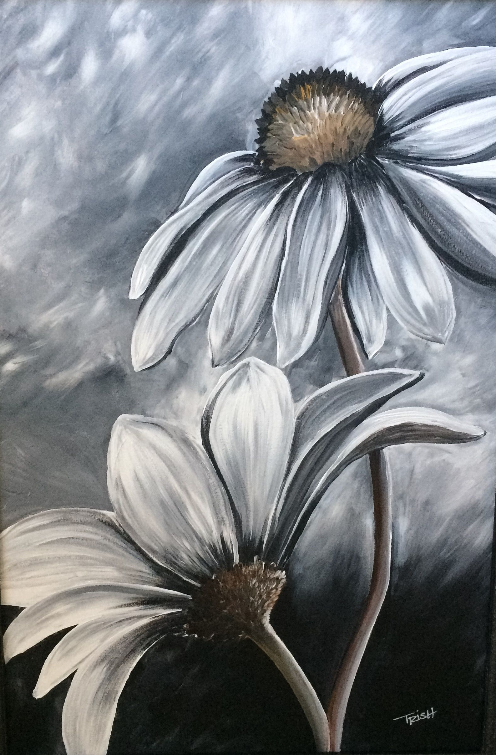 Black And White Acrylic Painting By Trish Jones Simple Acrylic Paintings Flower Painting Meaningful Paintings