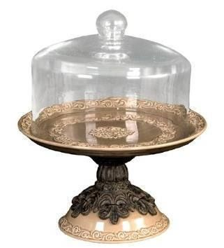 Cake Platter with Glass Dome, Taupe $228.02 www.CakeStandsGallery.com