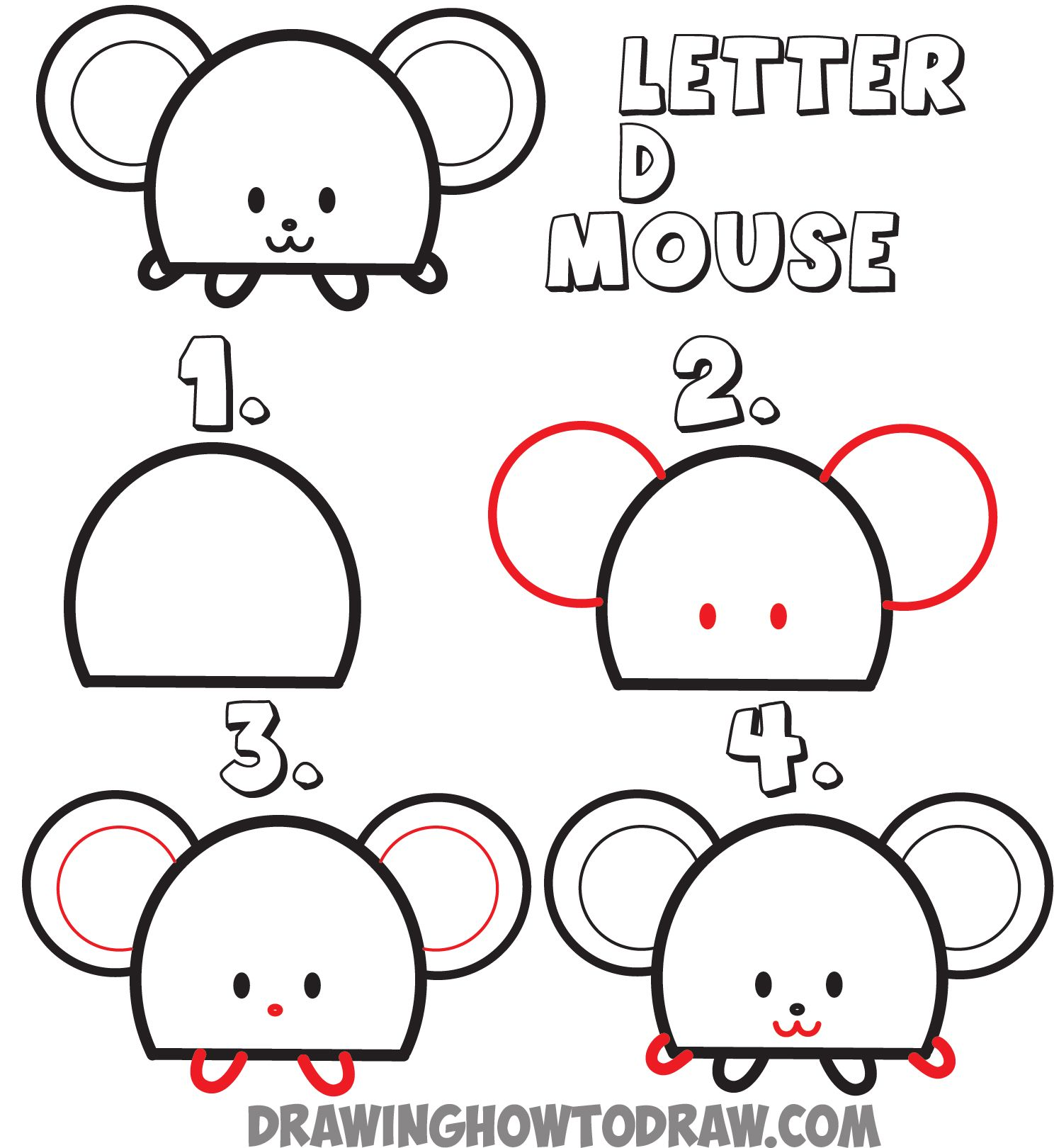 Uncategorized How To Draw A Animal Step By Step how to draw a cartoon mouse from the letter d shape drawing for huge guide animals uppercase tutorial kids step by drawing