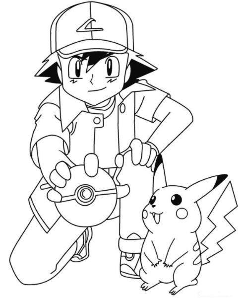 ash and pikachu coloring pages (Dengan gambar) | Sketsa