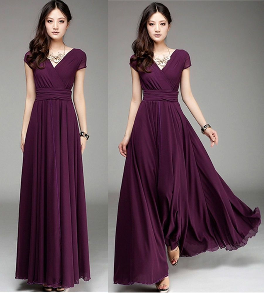 New women ladies purple long maxi formal evening cocktail party plus