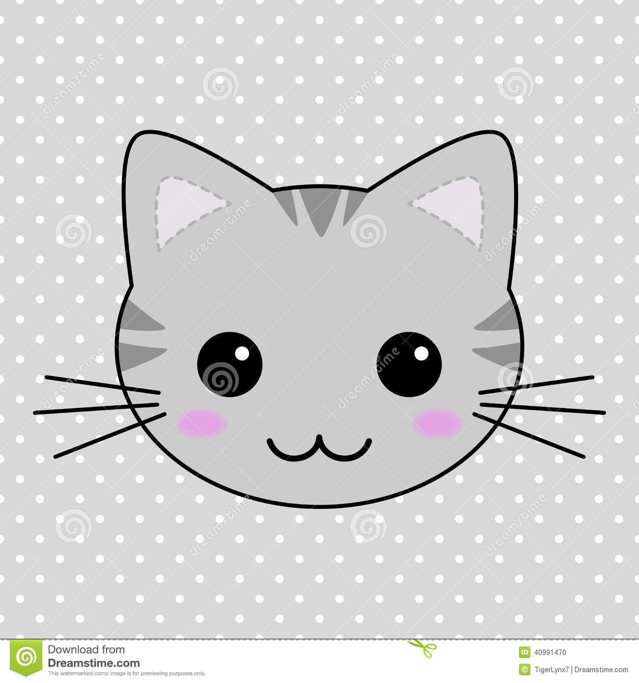 cute gray kawaii tabby cat stock vector image 40991470