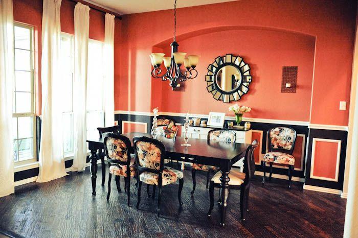 Orange burnt orange pumkin dining room d cor hardwood for Black and cream dining room ideas
