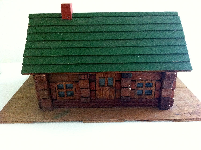 Vintage Lincoln Log Cabin, Toys, Rustic Decor , Cottage