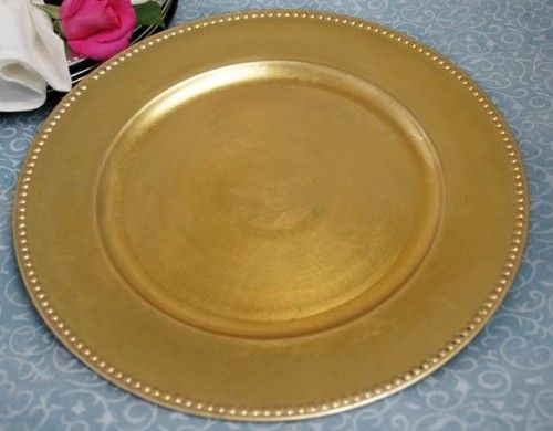 Gold/Silver Beaded Edge Plastic Charger Plates 13\
