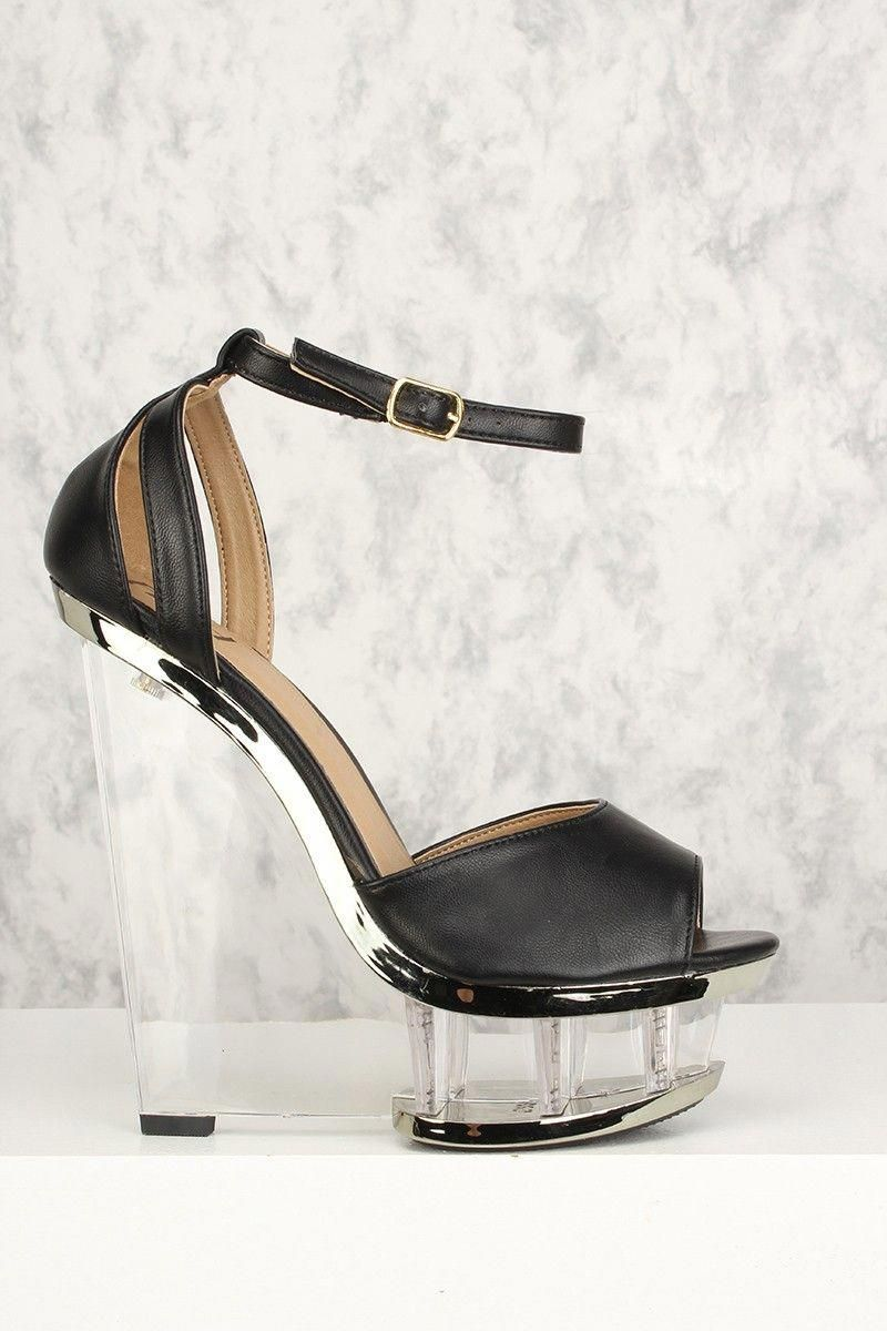 19782390f5e Buy Sexy Black Ankle Strap Clear Wedge Platform Faux Leather with discount  price and high quality