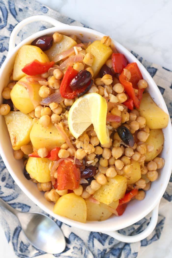 Greek Lemon Roasted Potatoes With Chickpeas