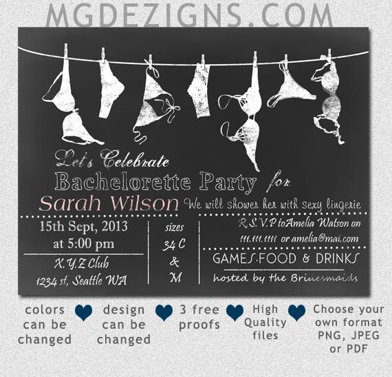 Printable Chalkboard Lingerie Shower Bachelorette Party Invitation At  Mgdezigns.com