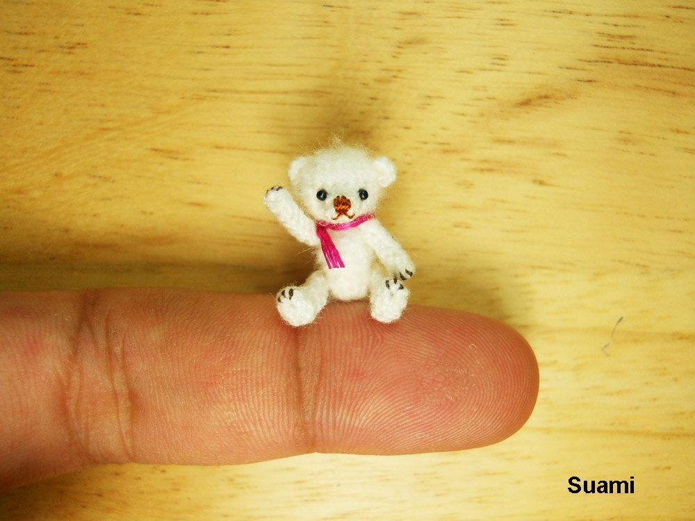 Teeny Tiny Teddy Bear 0.8 Inch Scale - Crochet Mohair White Bear Pink  Scarf