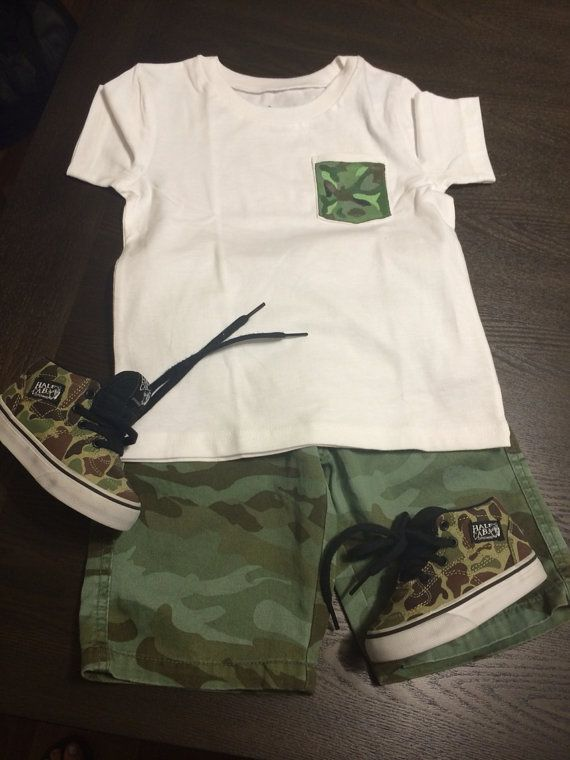 Boys Green Camo T-Shirt on Etsy, $10.00