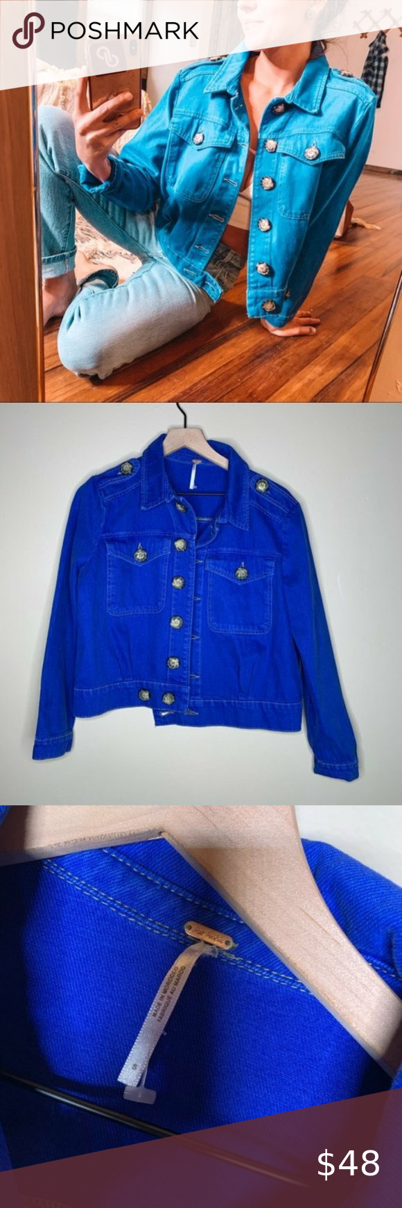 Free People Eisenhower Royal Blue Denim Jacket Free People Eisenhower Denim Jacket Size Small Conditon Excell Blue Denim Jacket Denim Jacket Grey Denim Jacket [ 1740 x 580 Pixel ]