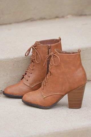 On A Whim Lace Up Booties - Tan   Closet Candy Boutique