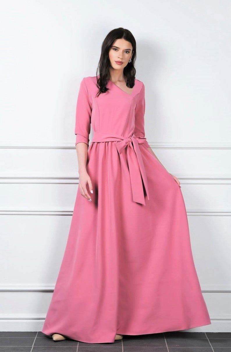 Dark Blush Maxi Dress Asymmetric V Neck 3 4 Sleeves Pockets Etsy Coral Maxi Dresses Blush Maxi Dress Maxi Dress [ 1213 x 794 Pixel ]
