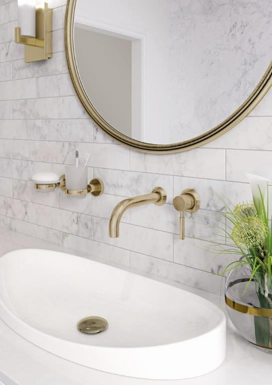 Gorgeous Carrara Marble Bathroom With Gold Taps And Accessories For A Classy Colour Pop Carrara Marble Bathroom Bathroom Faucets Marble Bathroom