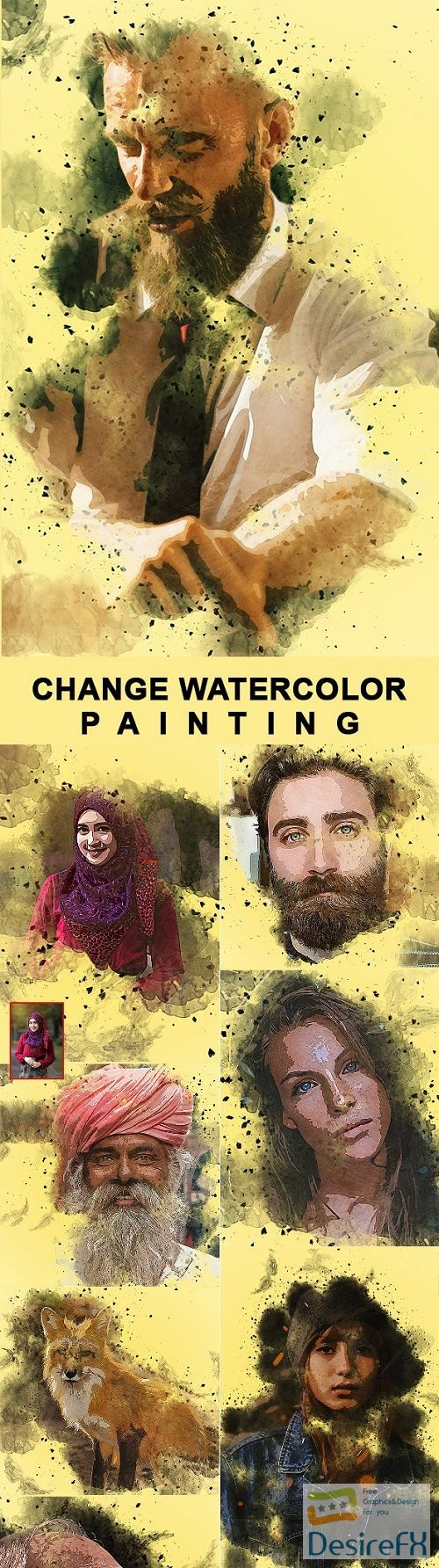 Change Watercolor Painting Photoshop Action 25748479 In 2020