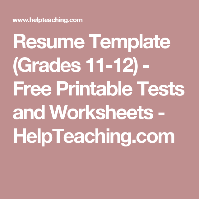Resume Template Grades   Free Printable Tests And