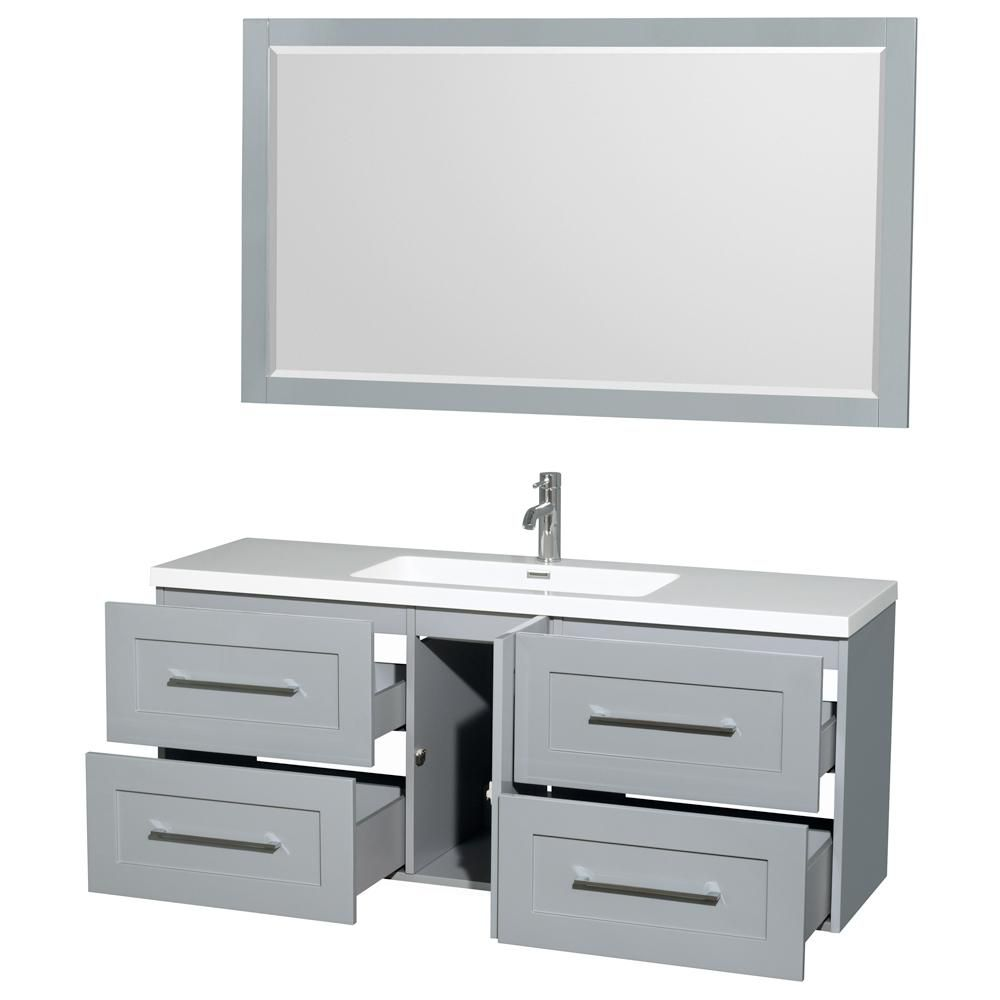 Wyndham Collection Olivia 60 In W X 19 In D Vanity In Dove Gray With Acrylic Vanity Top In White With White Basin And 58 In Mirror Wcr450060sdgarintm58 The Grey Bathroom