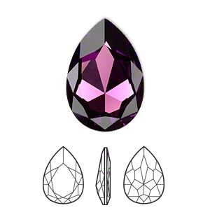 Embellishment, Swarovski crystal rhinestone, amethyst, foil back, 30x20mm faceted pear fancy stone (4327). Sold per pkg of 24.
