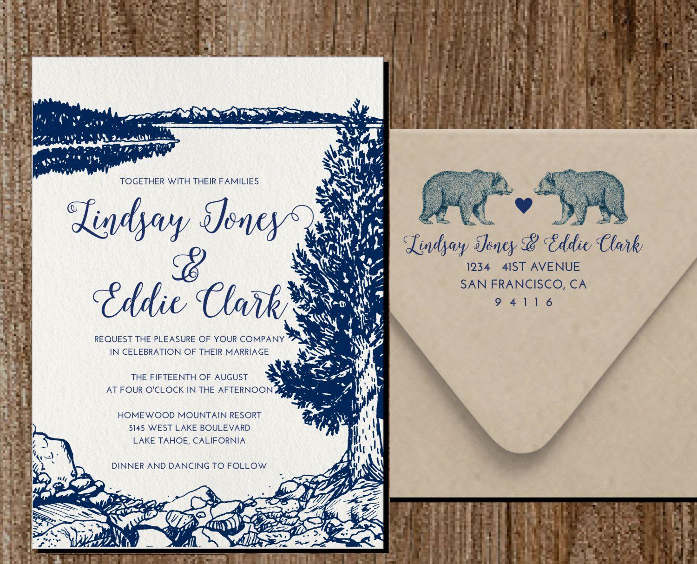 Custom Letterpress Wedding Invitation (Lake Tahoe) | loverz ...