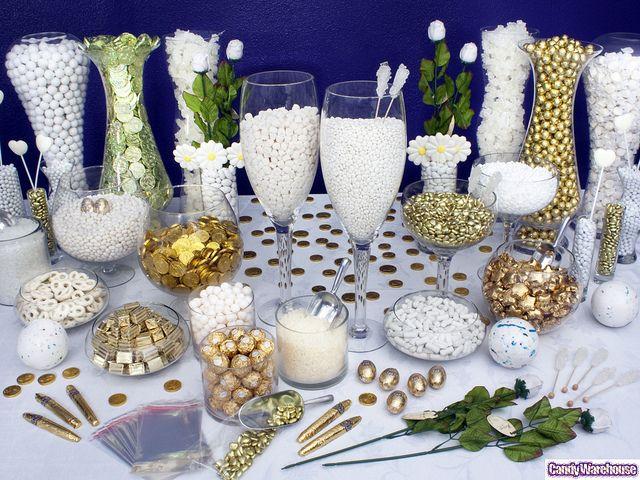 Gold Candy Buffet Gold Candy Buffet Silver Candy Buffet White Candy Buffet
