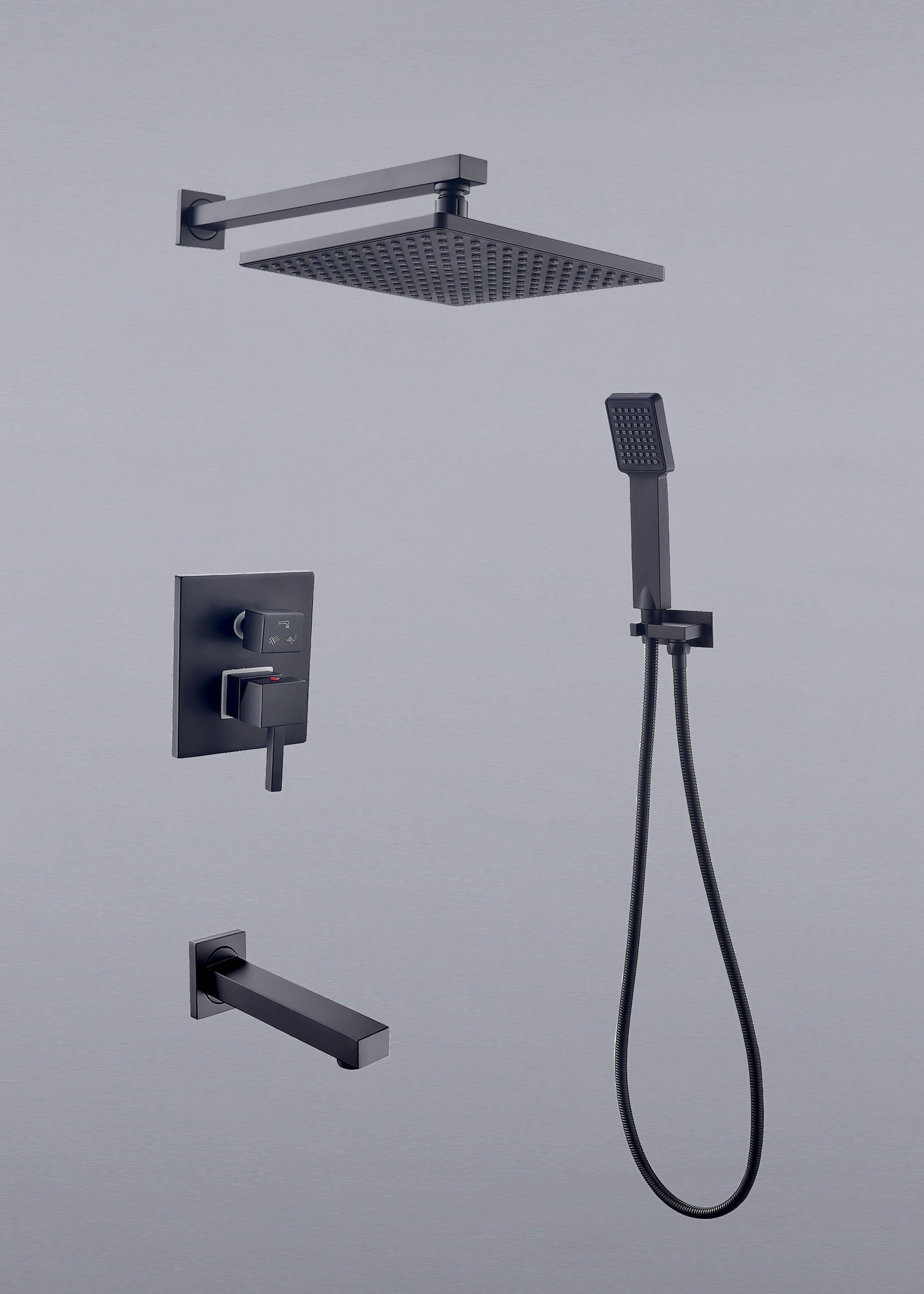 8 Inch Brass Bathroom Rainfall Shower Faucet Set Rough In Valve