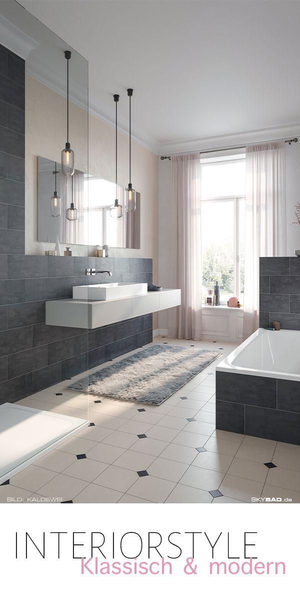 badezimmer mit badmöbeln und interior style klassisch und