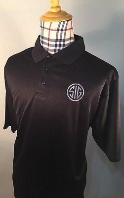 ddb87290 NEW SIG SAUER Mens Golf Polo Shirt Black LOGO P226 P229 P239 P250 Large L