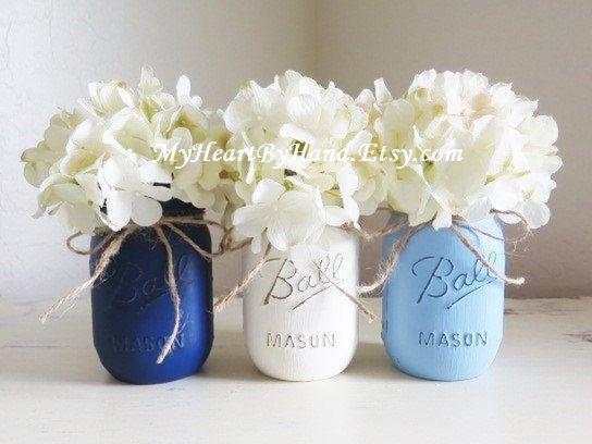 Mason Jar Baby Shower Decorations Nautical Theme Mason Jars Baby Shower Centerpiece Baby Boy