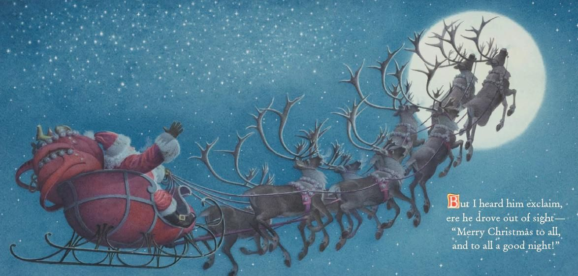 """The Night Before Christmas illustration of St. Nicholas or Santa Claus in his flying sleigh with his eight flying reindeer. """"But I heard him exclaim, ere he drove out of sight- """"Merry Christmas to all and to all a good night!"""""""