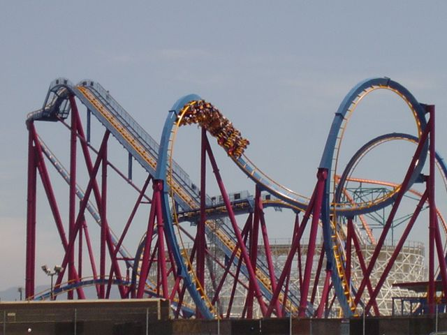 Scream Floorless Coaster Six Flags Magic Mountain Los Angeles California Roller Coaster Riding Roller