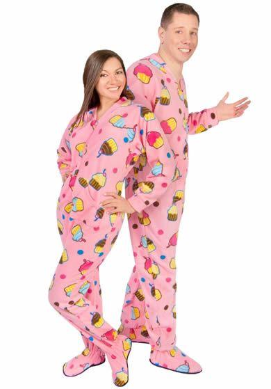 Cupcakes Fleece Adult Footed Pajamas with Drop Seat | PJs ...