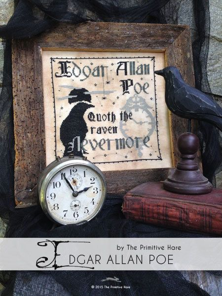 Edgar Allan Poe Halloween cross stitch pattern by The Primitive Hare at cottageneedle.com Nevermore October by thecottageneedle