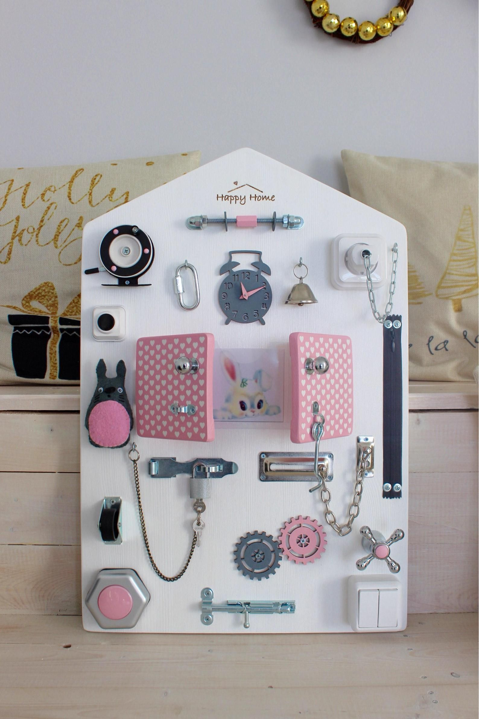 Activity Board for Girl - Montessori Busy Board - Toddler ...