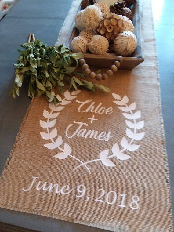 Farmhouse Style Table Runner Burlap Family Name Personalized Elished Date Wedding Thanksgiving C