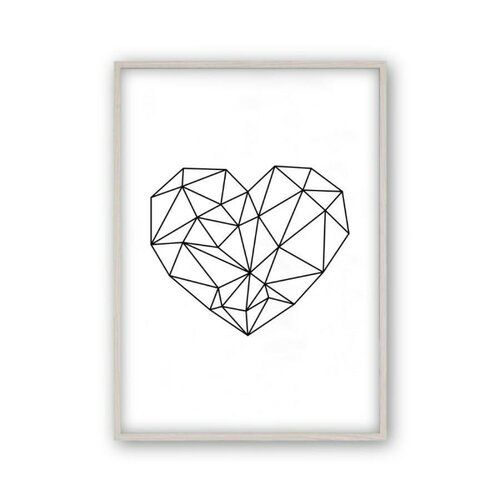 Blim and Blum Stylish geometric heart that pairs perfectly with many other prints to add something modern to compliment your room. A thoughtful gift for housewarming, birthday or Christmas. Format: White Oak Frame, Size: 31 cm H x 22 cm W x 2.5 cm D