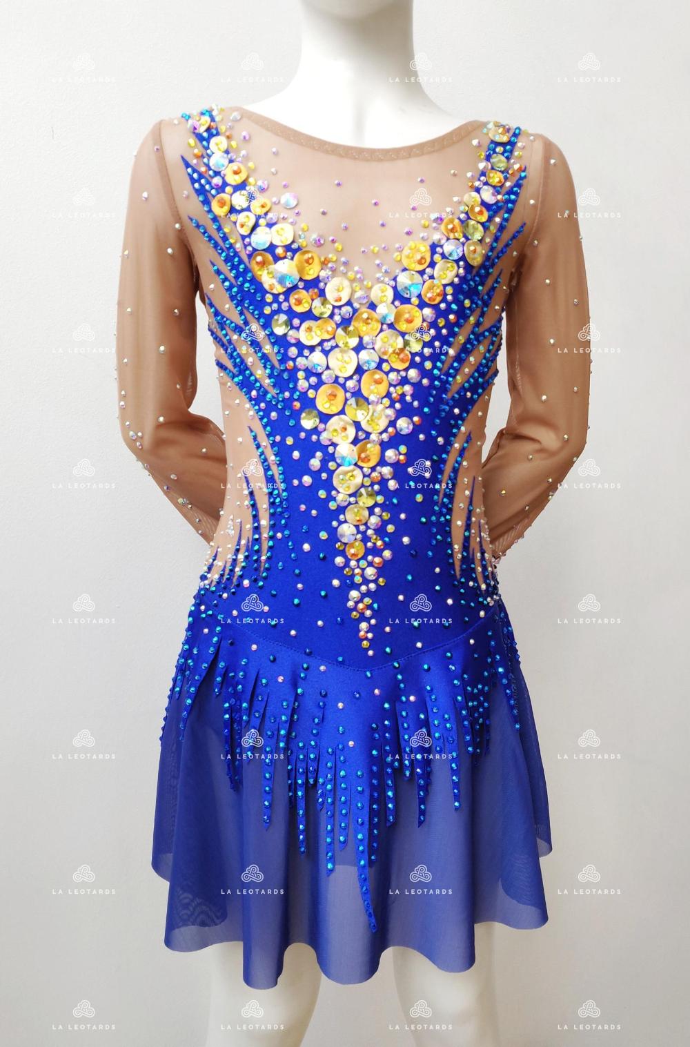 Lejafay Womens Shiny Rhinestones Figure Skating Dress Long Sleeves Gymnastics Leotard Ballet Dance Costume