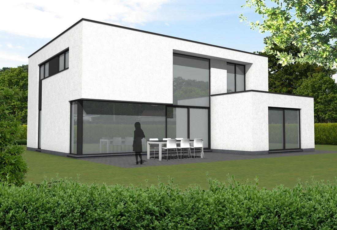 Moderne woning gevelpleister lsch huizen pinterest for Moderne laagbouw woningen