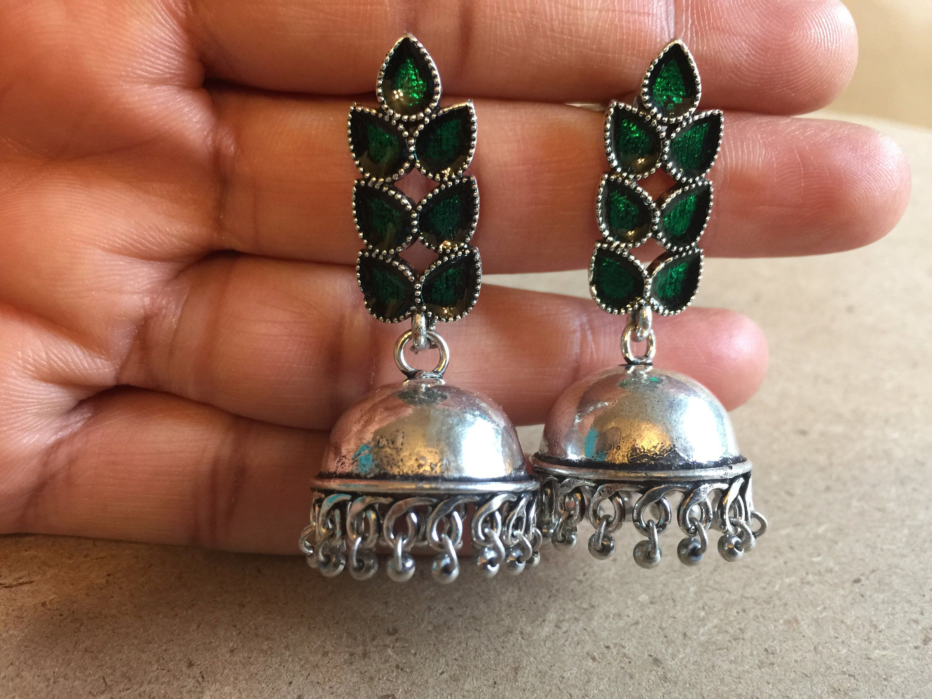 a649df967 Excited to share this item from my #etsy shop: German silver jhumka with  meenakari stud, Meena work on Jhumka, Leaf stud Jhumka earrings, ...