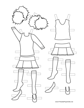 These two free, printable Cheerleader Paper Doll uniforms
