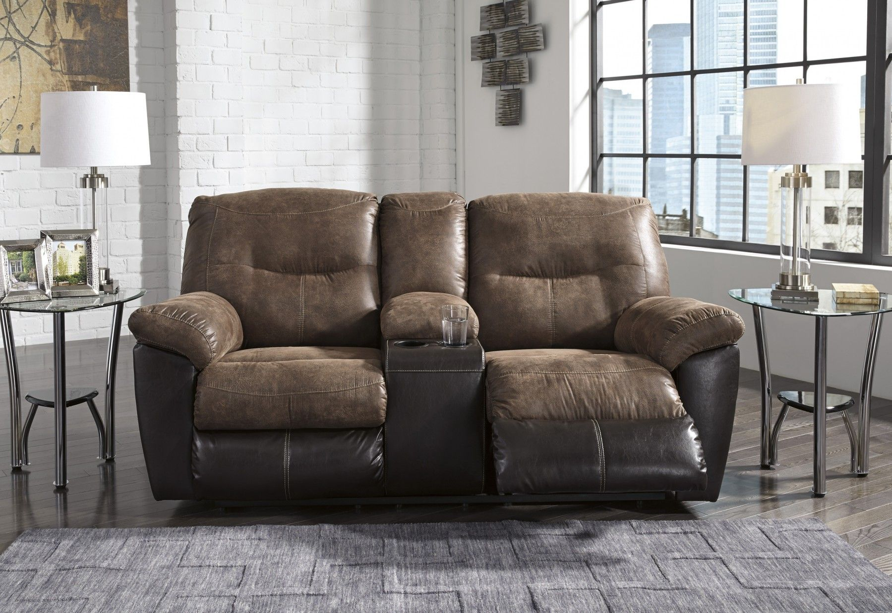 Signature Design By Ashley Follett Coffee Double Reclining