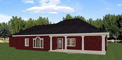 Rear Elevation of European   Traditional   House Plan 64537