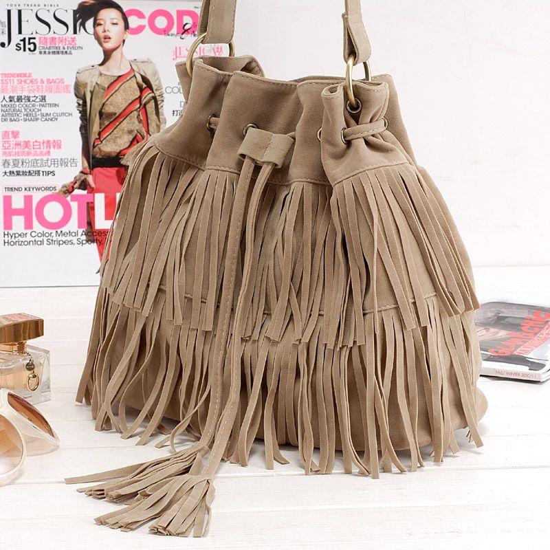 c6cd952615 Hot Faux Suede Fringe Tassel Shoulder Bag Womens Handbags Messenger Bag