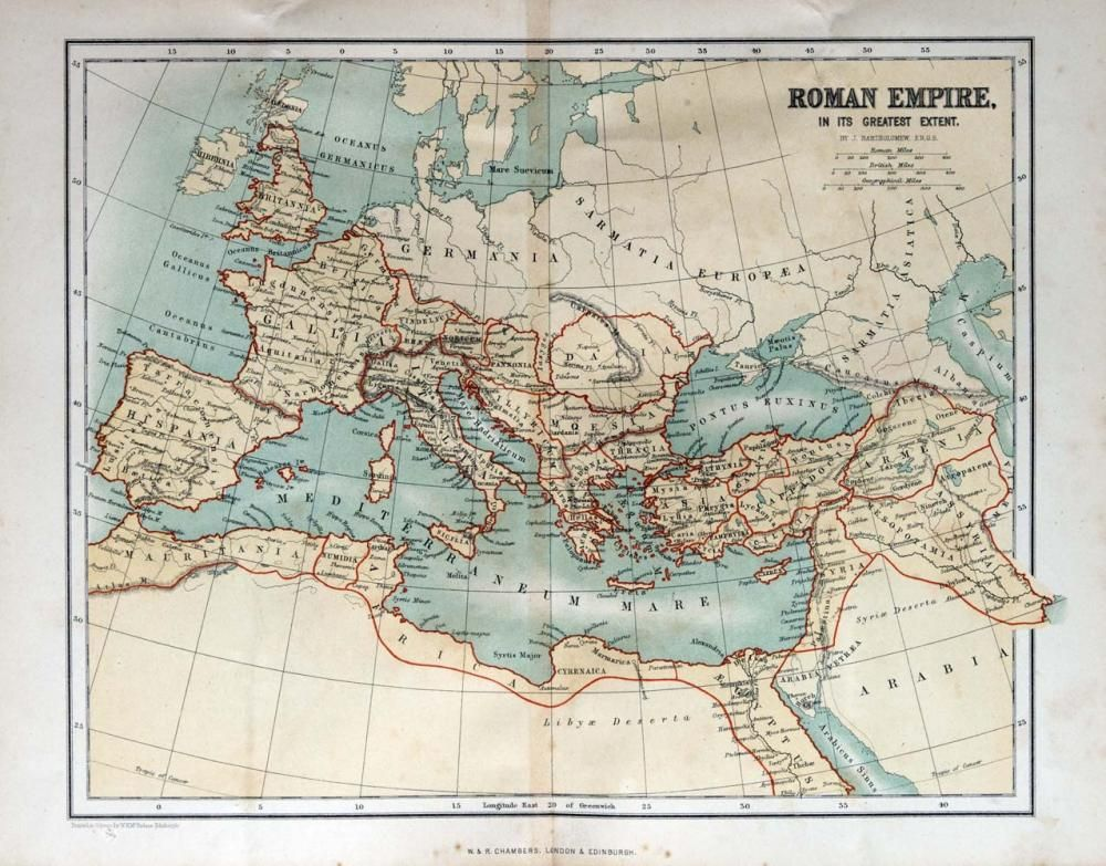 Old Map Of The Roman Empire 1870 Custom Wall Decals Wall Decal