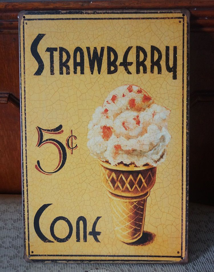 ICECREAM Art Poster Tin Metal Signs Plate Room Cafe Wall decor NO514 ...