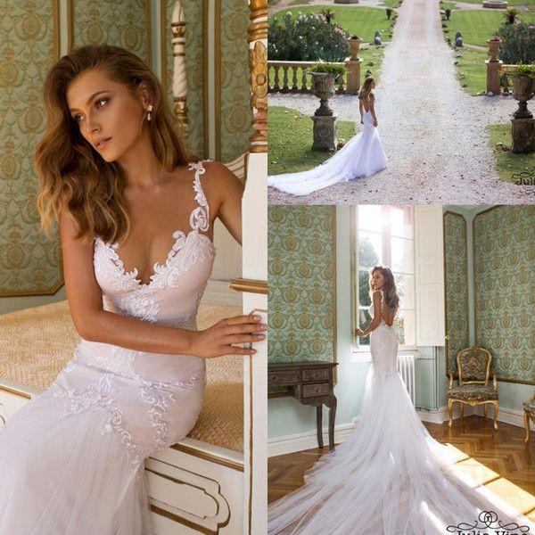 2016 Wedding Dresses Mermaid Julie Vino Custom Made V Neck