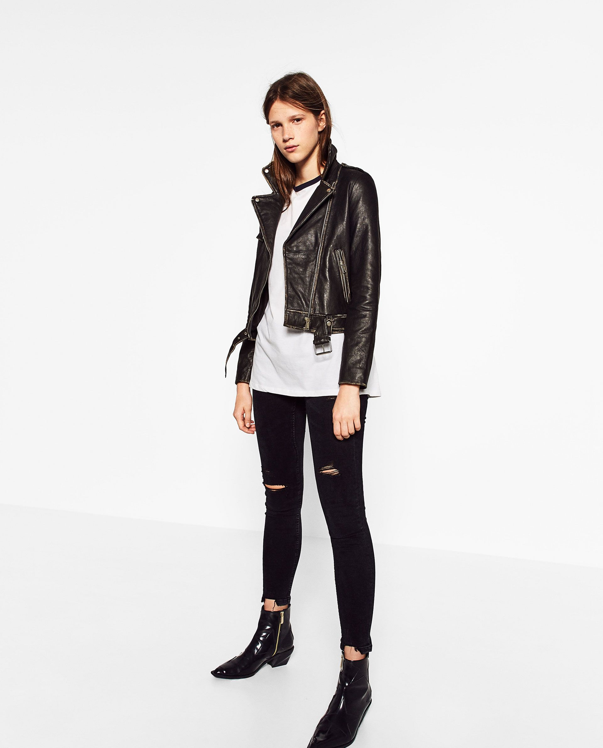 Image 1 of FADED LEATHER JACKET from Zara Moda casual